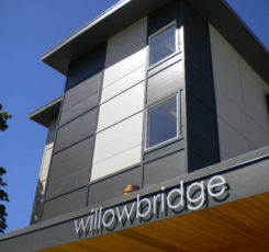 outside of the CMHA Willowbridge supportive housing units, the building is very modern and clean