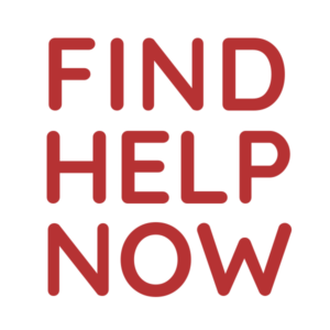 "Red clip art text reading ""Find help now"""