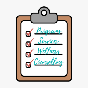 Clipboard clip art with a piece of paper and a list; Programs, Services, Wellness, Counselling, all list items have checked boxes beside them