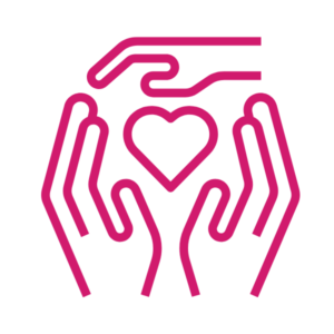 Pink clip art of 3 hands surrounding a heart icon, CMHA youth and families