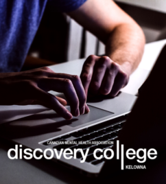 a man is working on his laptop in an intensely lit photo. The text discovery college runs across the bottom