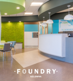 interior photo of the foundry kelowna headquarters, the walls have a nice looking grass and blue theme for a very calm and welcoming feel