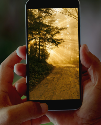 holding up a phone looking at a warm photo of a trail leading around a corner