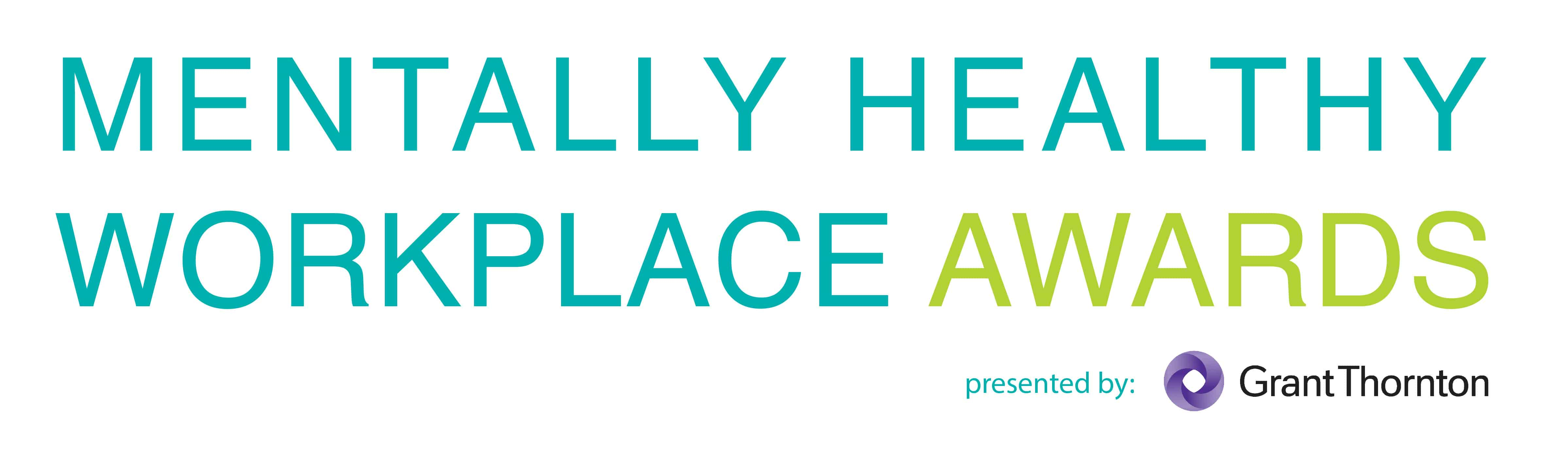 Mentally healthy workplace awards with sponsor grant thorton (logo)